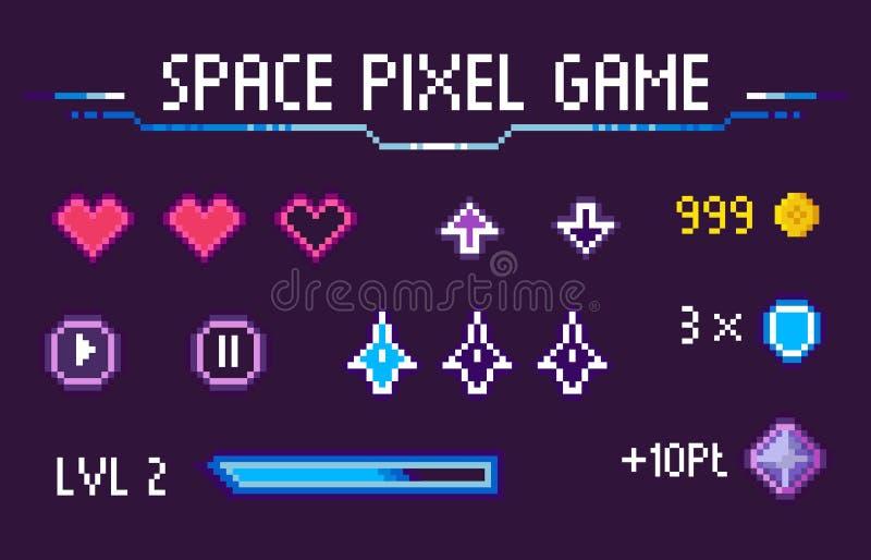 Sistema mordido de los iconos de los gráficos de los corazones 8 del juego del pixel del espacio stock de ilustración