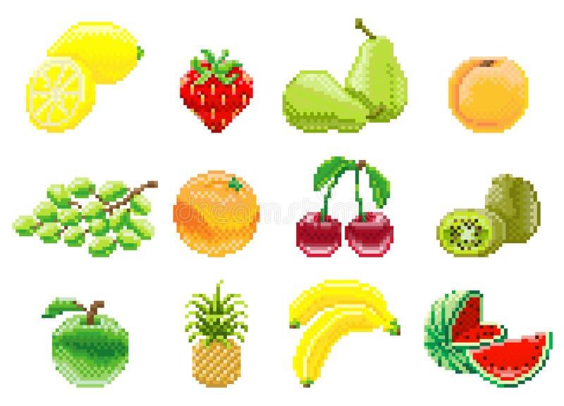 Sistema mordido del icono de la fruta del videojuego del arte 8 del pixel stock de ilustración