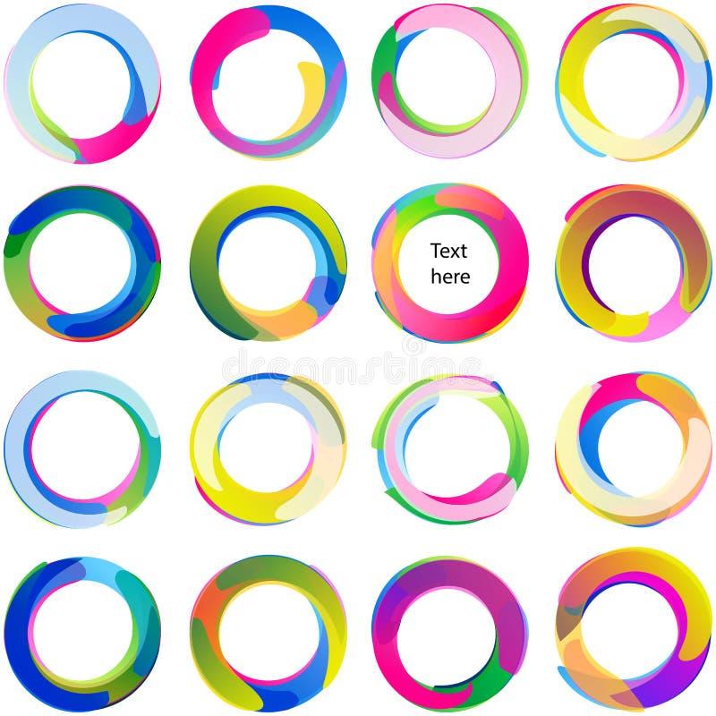 Sistema multicolor del remolino de la forma de Ring Overlaping Circle Arc Swirl stock de ilustración