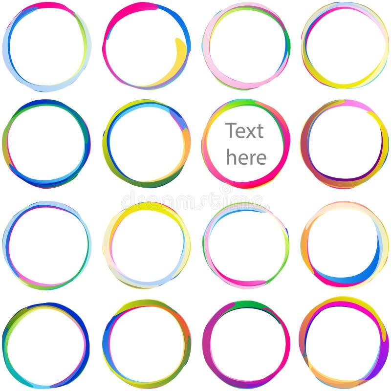 Sistema multicolor del remolino de la forma de Ring Overlaping Circle Arc Swirl de la gota stock de ilustración