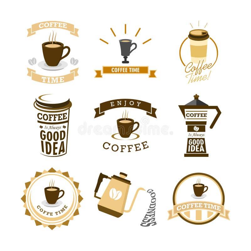 Sistema mural del diseño del ejemplo de la tipografía de las letras del tiempo del café diverso stock de ilustración