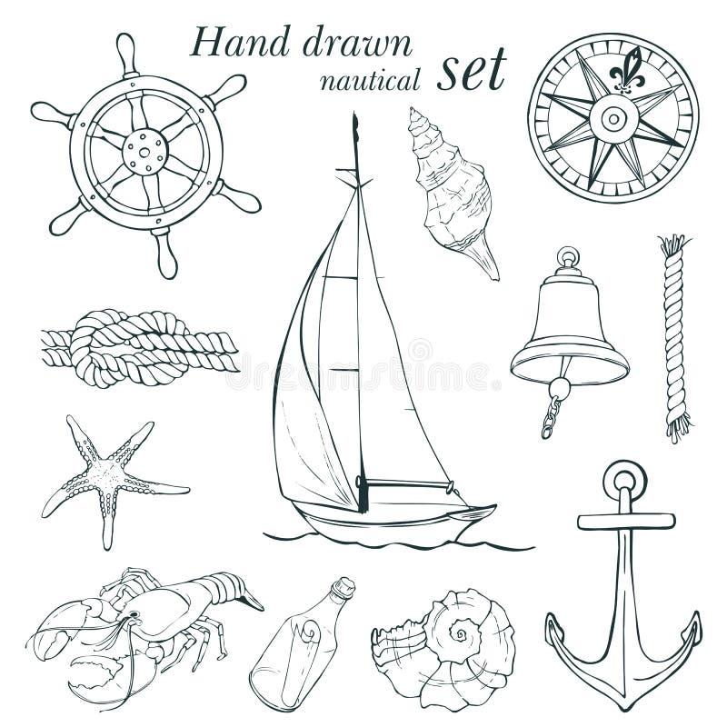 Sistema náutico dibujado mano stock de ilustración
