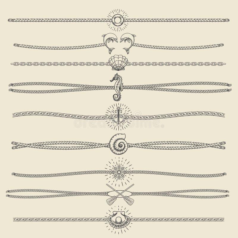 Sistema náutico dibujado mano del divisor del estilo del inconformista libre illustration