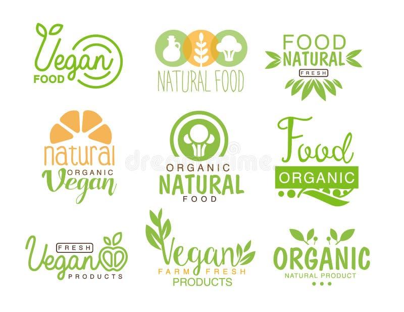 Sistema natural de la comida del vegano del café Logo Signs In Green, colores anaranjados de la plantilla que promueven forma de  ilustración del vector
