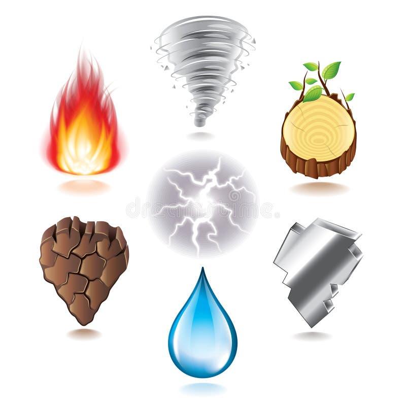 Sistema natural del vector de siete iconos de los elementos libre illustration