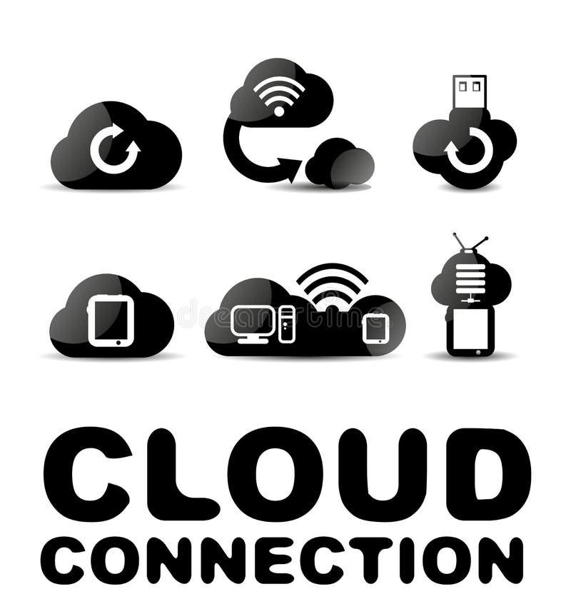 Sistema negro brillante del icono de la conexión de la nube stock de ilustración