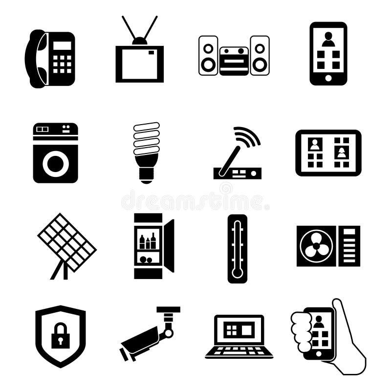Sistema negro casero elegante del icono stock de ilustración