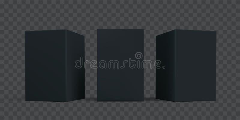 Sistema negro de la maqueta del paquete de la caja del cartón Plantillas aisladas vector de los modelos de las cajas del paquete  ilustración del vector