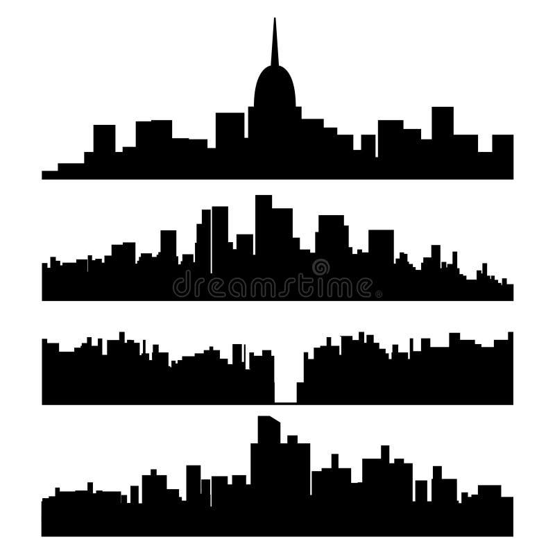 Sistema negro de la silueta de la ciudad ilustración del vector