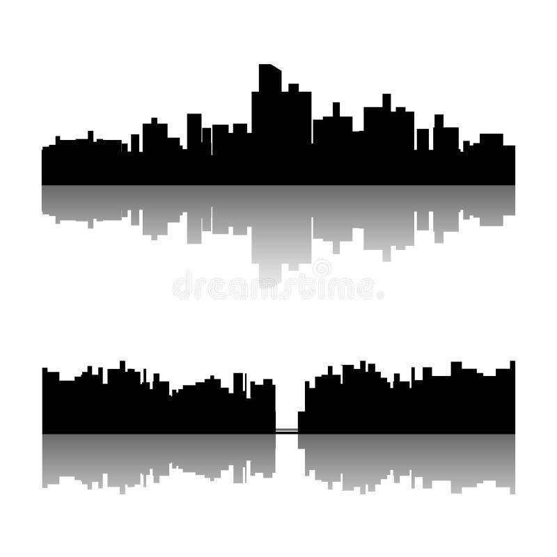 Sistema negro de la silueta de la ciudad libre illustration