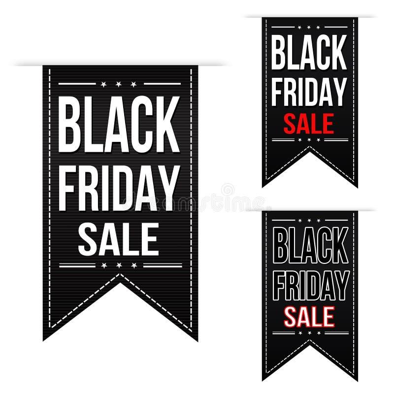 Sistema negro del diseño de la bandera de la venta de viernes stock de ilustración