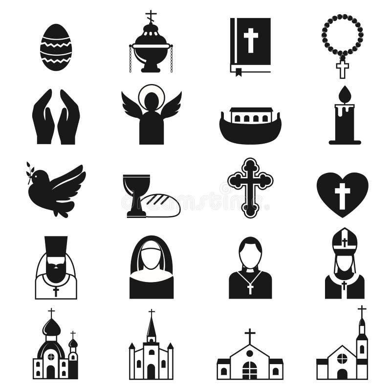 Sistema negro del icono de la religión del vector stock de ilustración