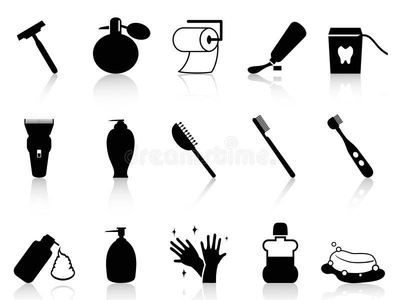 Sistema negro del icono de los accesorios del cuarto de baño stock de ilustración
