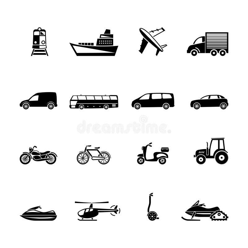 Sistema negro del icono del transporte dieciséis stock de ilustración
