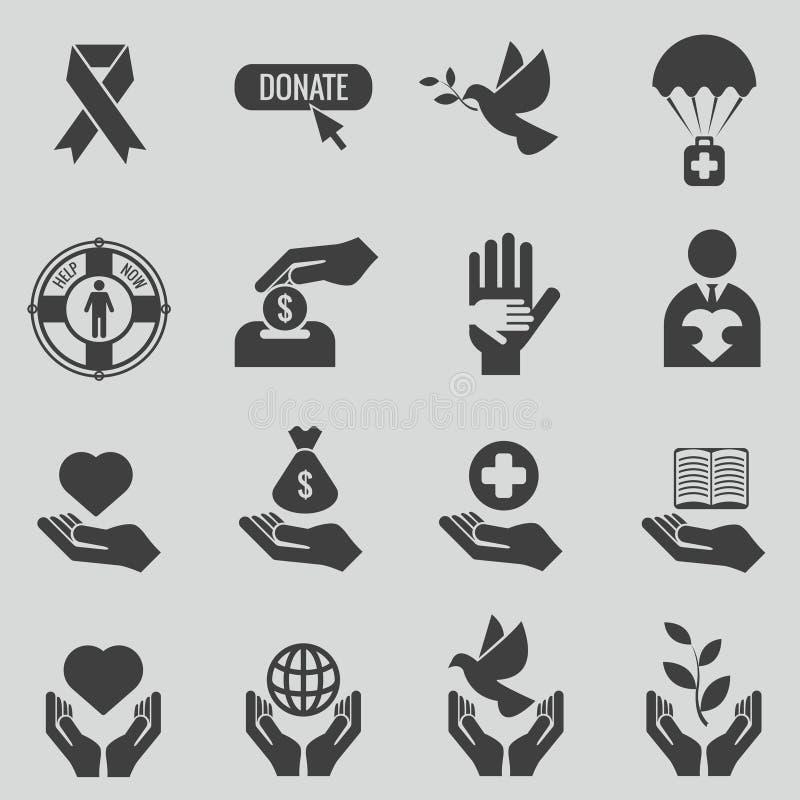 Sistema negro del vector de los iconos de la caridad y de la donación ilustración del vector