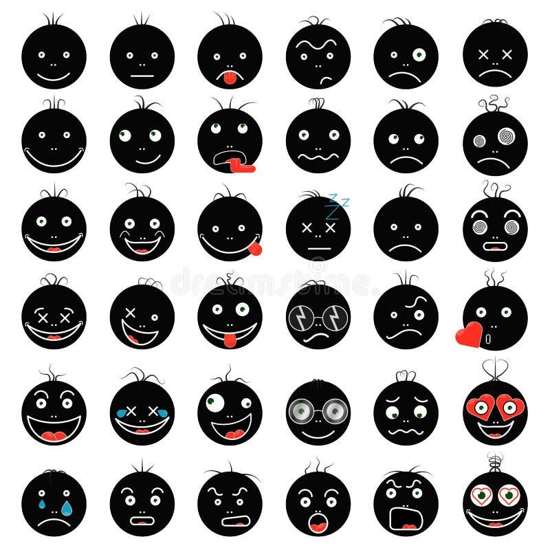 Sistema negro divertido divertido de los fps 10 del vector de los smiley foto de archivo libre de regalías
