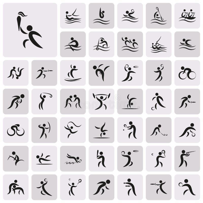 Sistema negro mínimo simple del icono del deporte del verano libre illustration