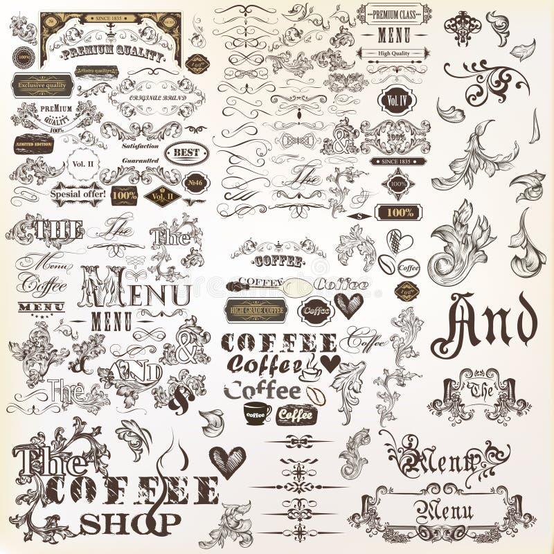 Sistema o colección de elementos del vector y de decoración caligráficos de la página ilustración del vector