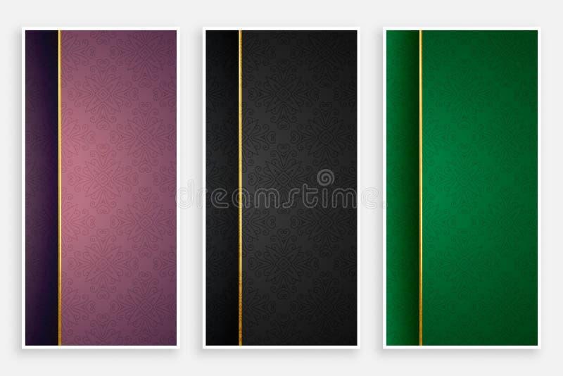 Sistema ornamental de las banderas del estilo del vintage stock de ilustración