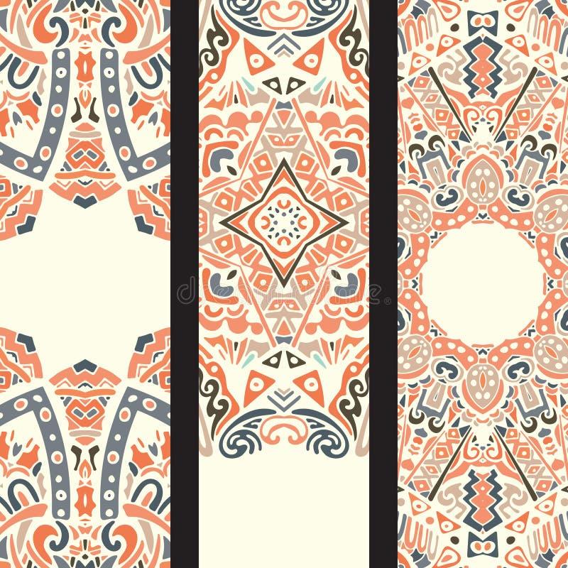 Sistema ornamental ethinic hermoso de la bandera ilustración del vector
