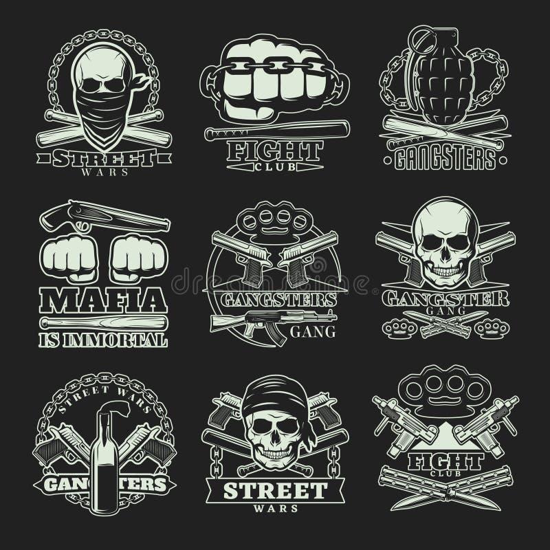 Sistema oscuro del emblema del gángster ilustración del vector