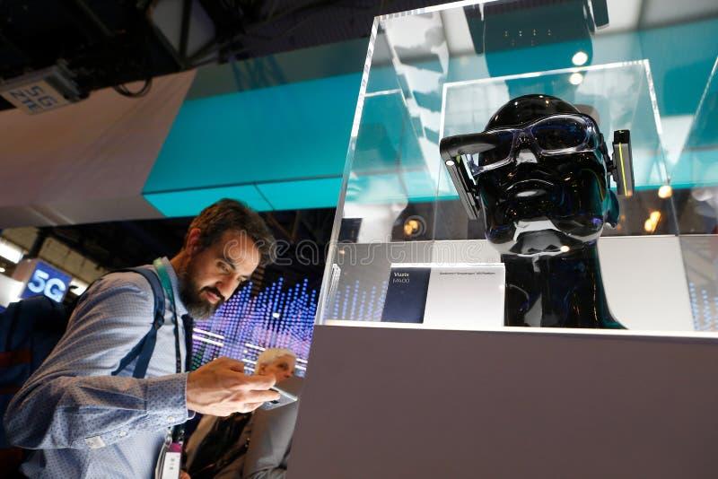 Sistema ottico dell'AR a MWC 2019 fotografia stock