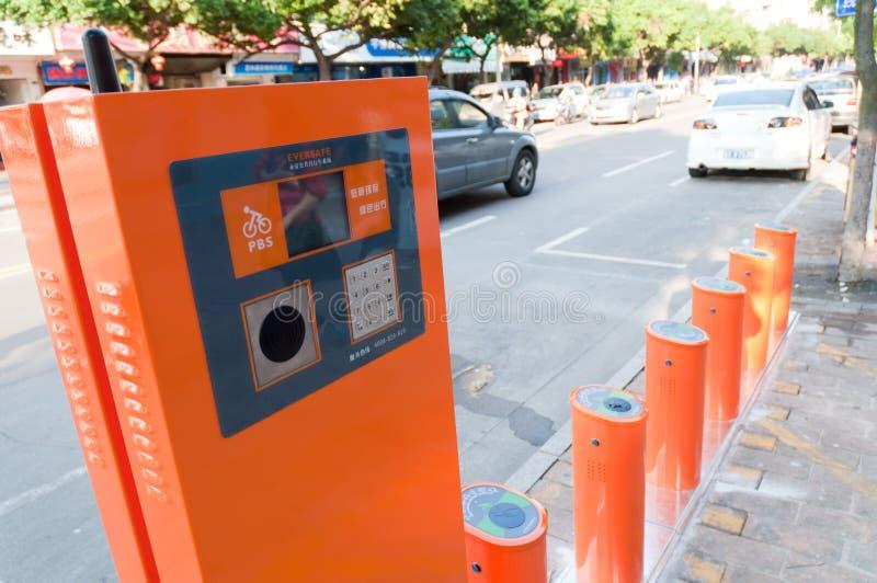 Sistema público da bicicleta em China fotos de stock