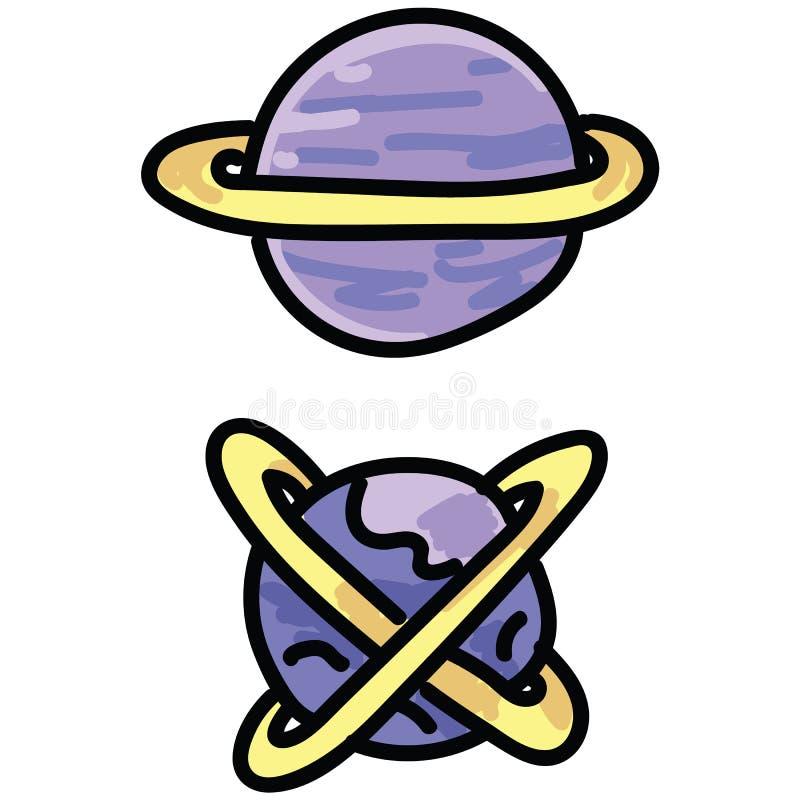 Sistema púrpura lindo del adorno del ejemplo del vector de la historieta de los planetas del espacio exterior Clipart aislado exh libre illustration