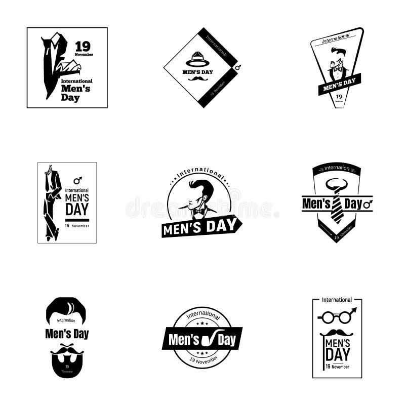 Sistema para hombre internacional del logotipo del día, estilo simple stock de ilustración