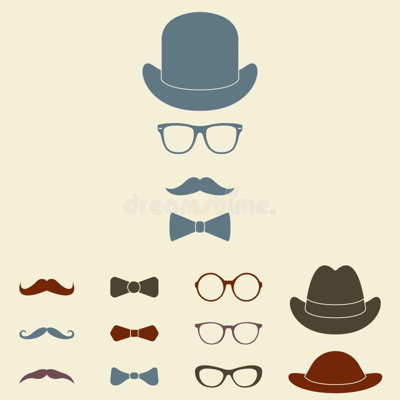 Sistema pasado de moda del icono de los accesorios del caballero Vidrios, sombrero, bigote y bowtie Estilo del vintage o del inco ilustración del vector