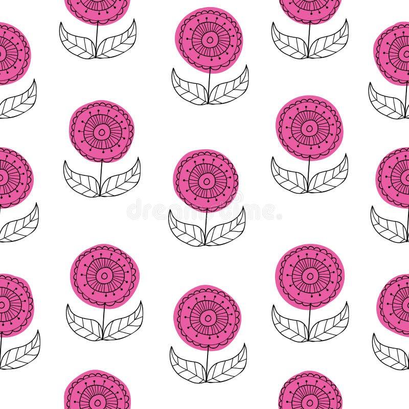 Sistema patttern inconsútil del fondo del vector de flores exhaustas de la mano hermosa en estilo retro Dibujo floral con línea-a stock de ilustración