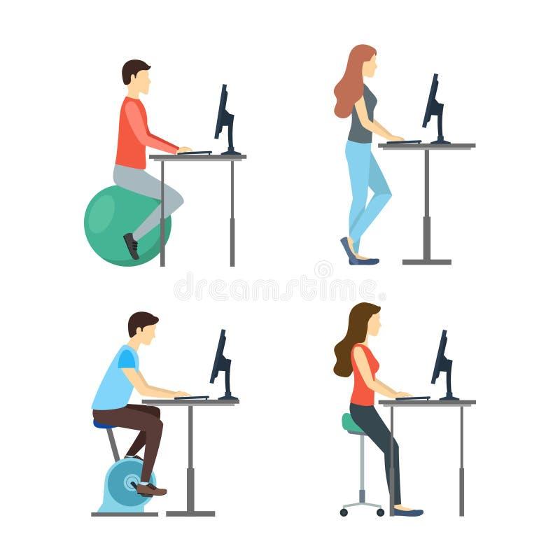 Sistema permanente del escritorio de la gente de los personajes de dibujos animados Vector stock de ilustración