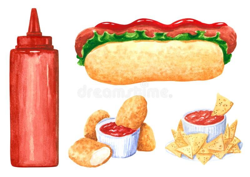 Sistema, perrito caliente, nachos, pepitas y salsa de tomate del clipart de la comida rápida ilustración del vector