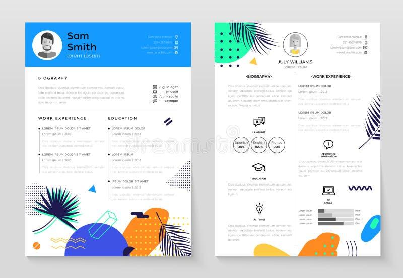 Sistema personal CV de ejemplos modernos de la plantilla del vector libre illustration