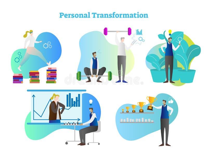 Sistema personal de la colección del ejemplo del vector de la transformación Crecimiento humano por los libros de lectura y apren stock de ilustración