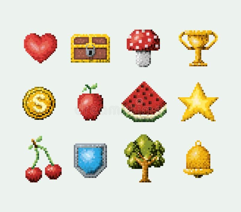 Sistema pixelated color de iconos del juego de arcada de los elementos libre illustration
