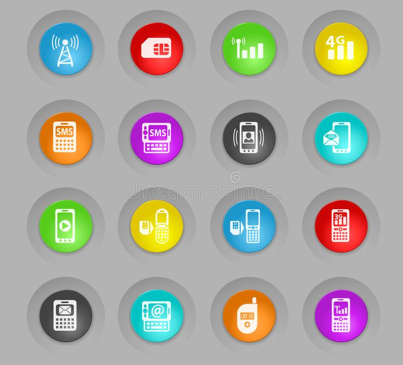 Sistema plástico coloreado conexión móvil del icono de los botones de la ronda stock de ilustración