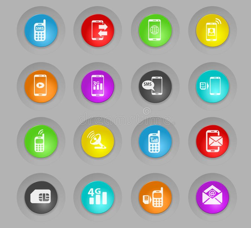 Sistema plástico coloreado conexión móvil del icono de los botones de la ronda libre illustration