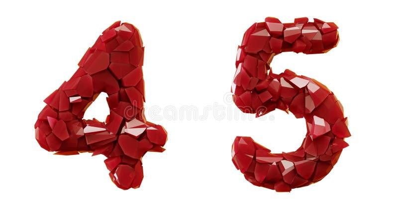 Sistema pl?stico rojo 4, 5 hechos que de 3d rinde color rojo de los cascos pl?sticos ilustración del vector