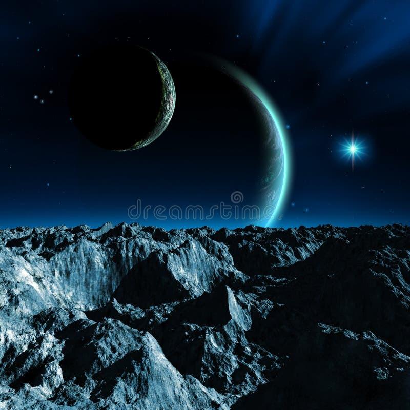 Sistema planetário estrangeiro, uma lua com montanhas e rochas, dois planetas com atmosfera, uma estrela brilhante e nebulosa, il ilustração do vetor