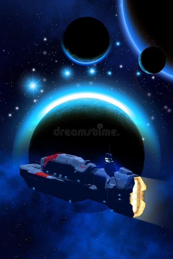 Sistema planetario straniero, bakground con le stelle e nebulosa, atmosfera, astronave del carico, illustrazione 3d royalty illustrazione gratis