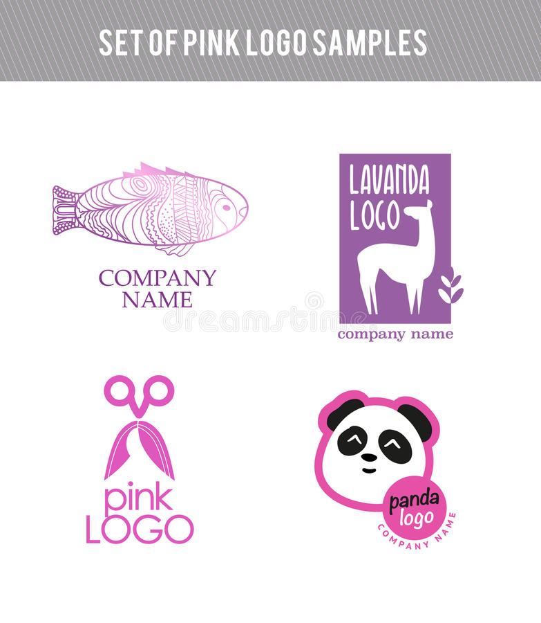 Sistema plano animal del logotipo del vector stock de ilustración