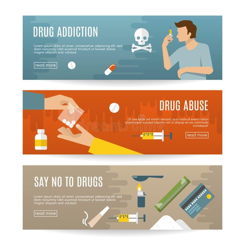 Sistema plano de la bandera de las drogas stock de ilustración
