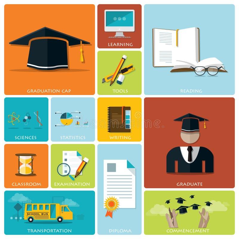 Sistema plano de la educación y del icono de la graduación libre illustration