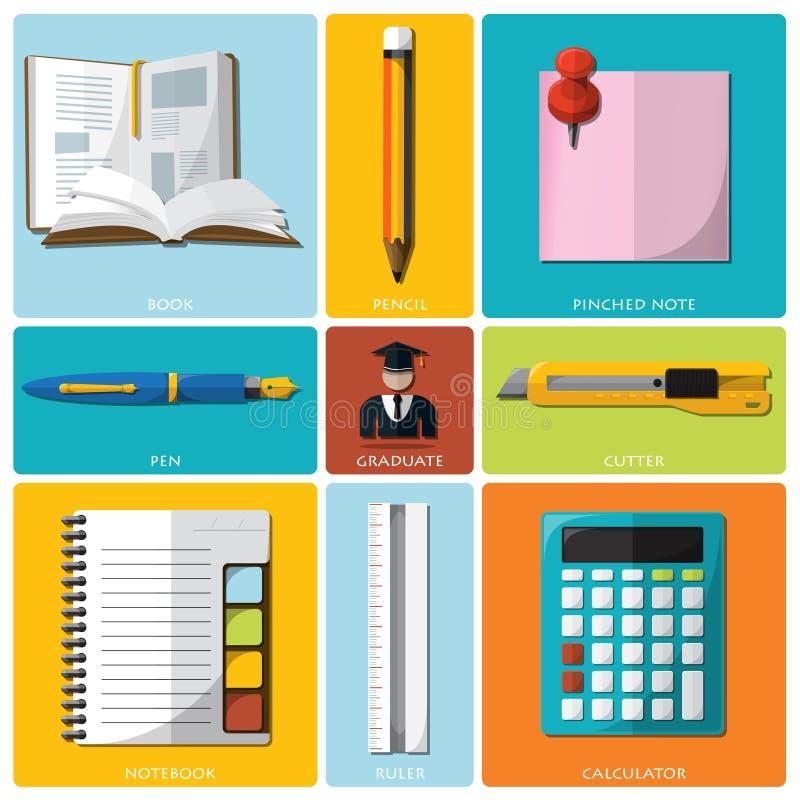 Sistema plano de la educación y del icono de las herramientas de la graduación libre illustration