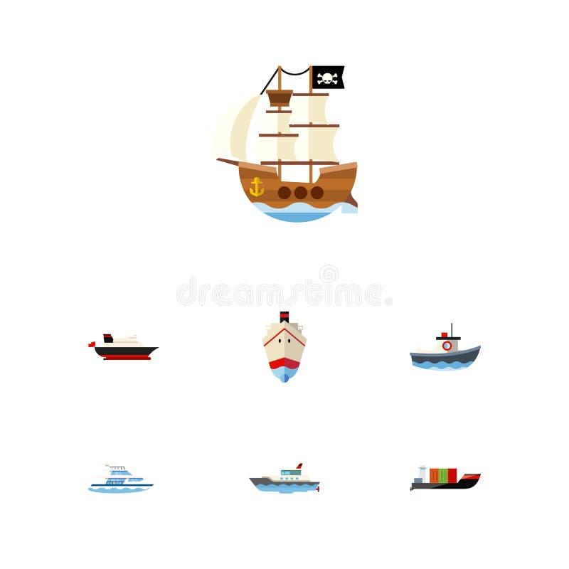 Sistema plano de la nave del icono de barco, de entrega, de buque y de otros objetos del vector También incluye al pirata, petrol stock de ilustración