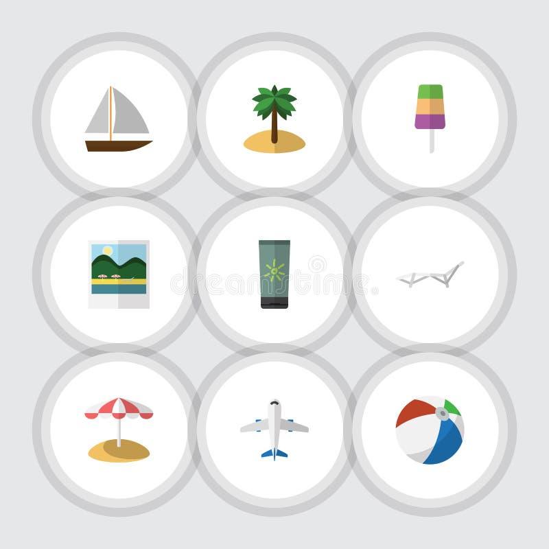Sistema plano de la playa del icono de yate, de recordatorios, de aviones y de otros objetos del vector También incluye el helado libre illustration