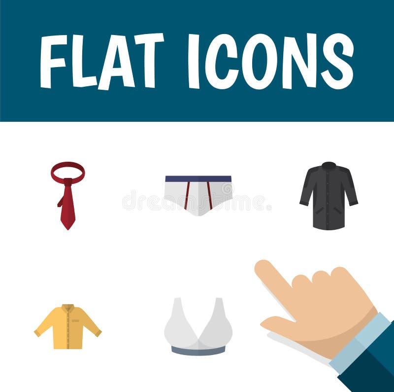 Sistema plano de la ropa del icono de Banyan, de cervecería, de ropas interiores y de otros objetos del vector También incluye la libre illustration