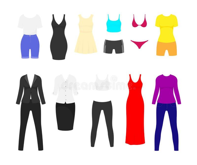 Sistema plano de la ropa de la mujer Vestido de noche negro largo y corto rojo y traje de negocios femenino Verano y vector de la libre illustration