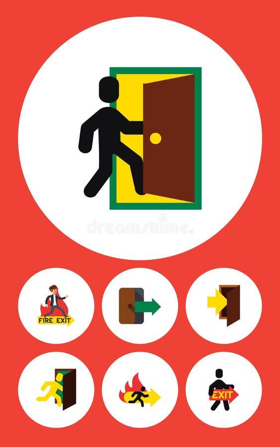 Sistema plano de la salida del icono de la salida, emergencia ilustración del vector